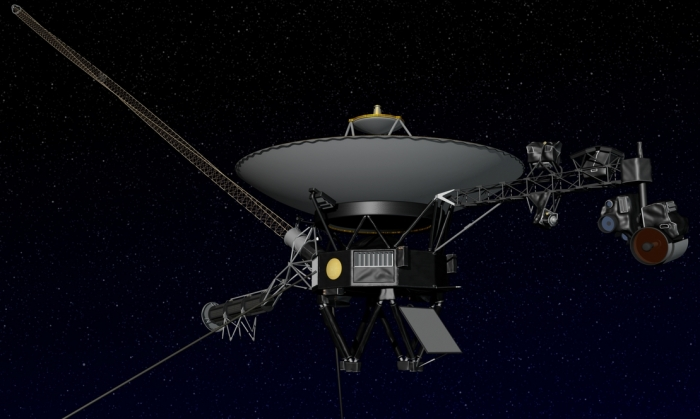 Voyager: the most prominent element of the vehicle is the communitactions dish; below and to the left of this is the nuclear RTG power source; extending out to the top left is the insstrument boom, and to the right the imaging boom and camera system