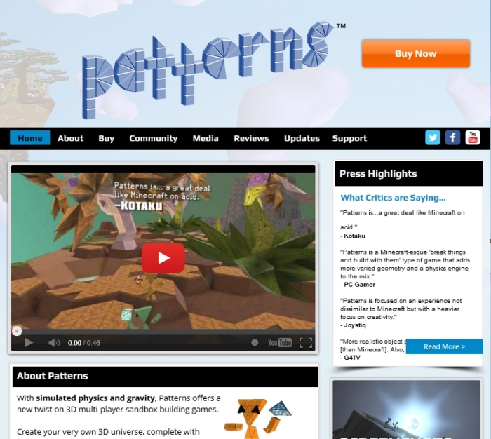 The updates Patterns website