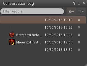 The Firestorm 4.5.1 Conversation Log floater