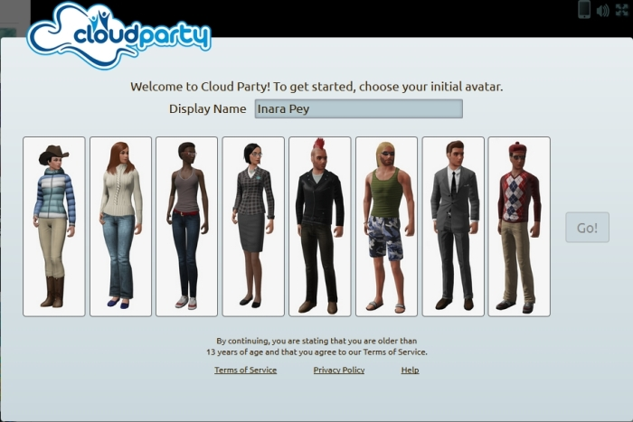 "The avatar picker in Cloud Party. Reminiscent of the ""old"" SL avatar picker"