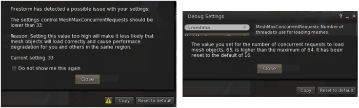 MeshMaxConcurrentRequests is now set to 16 by default and will issue a warning is set higher than 32 (l) and will reset to 16 if set higher than 64 (r). This is to prevent users encountering issue by setting too high a value (higher is not actually better)
