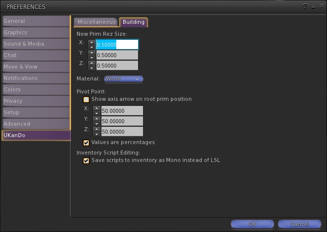 UKanDo includes an additional Preference tab - UKanDo - which provides additional build options as well as