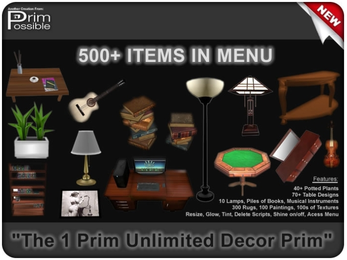 The PrimPossible Decor Menu  - one sculpt, many shapes (and sizes and finishes)