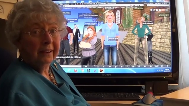 Fran Swenson (Fran serenade in Second Life), seen with her avatar and friends in Second Life