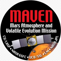 The MAVEN mission patch pictures the principal contributors to the mission: the University of Colorado, Boulder's Laboratory for Atmospheric and Space Physics CU/LASP; NASA's Goddard Space Flight Centre, the University of California at Berkeley's Space Sciences Laboratory, Lockheed Martin and NASA's Jet Propulsion Laboratory