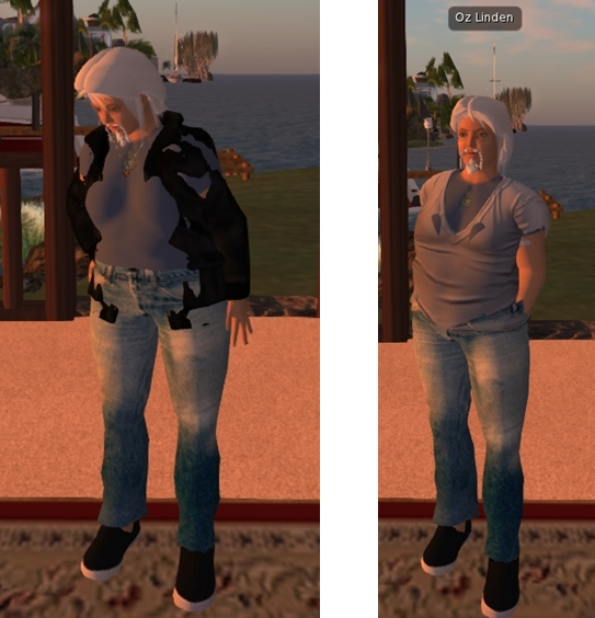 Oz, looking more portly than his usual self, demonstrates the new project viewer and collision bones. His mesh jacket (l) which is not rigged to the new bones, fails to adjust to his altered size. The t-shirt which has been rigged to the bones, however, does (r)