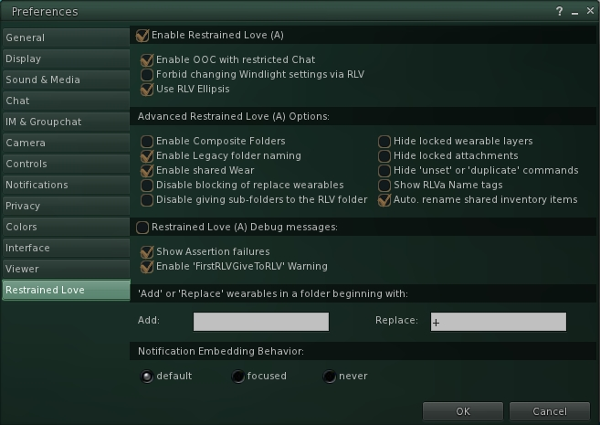 The RLVa Preferences panel introduced in version 2.3.5 of Black Dragon and showing the use of section headings to help logically arrange the tab's content