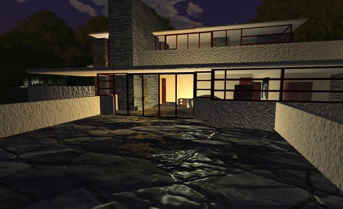 Fallingwater showing interior lighting reflected on the bedroom terrace using materials