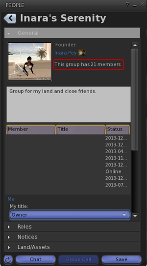 Total number of users in a group displayed for those groups you have joined