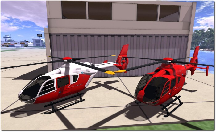 "Spijkers Aviation & Marine EC-135 - original red (r) and my 3-minute ""custom"" finish (l)"