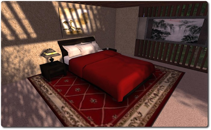 "The ""sleigh"" bed in red, with bedside tables"