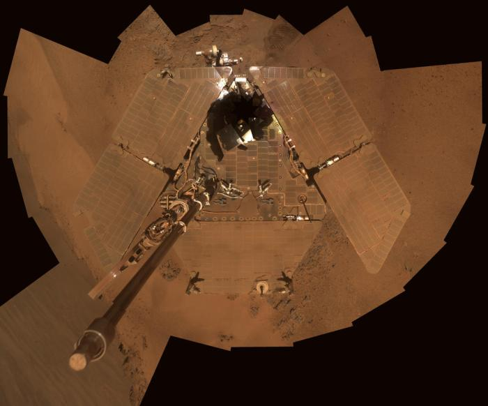 "Another ""selfie"" showing the acculation of dust on the solar panels. It had been thought this would interrupt the rover's ability to harness solar energy and thus limit its life span. However, seasonal wind vortices - dust devils - have been shown to periodically ""clean"" the panels and return them to a near-pristine look (see image above). This allowed both Opportunity and Spirit to massively exceed their anticipated operational lifetimes (click to enlarge)"