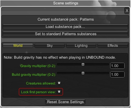 The new first person camera lock option in Settings. also note the option for applying your own substance sets to a world (top)