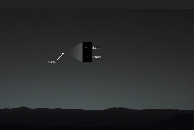 In this composition image, the Earth is seen in the main picture as it appears from the surface of Mars. In the inset, the image has been processed to reveal both Earth and her moon (click to enlarge)