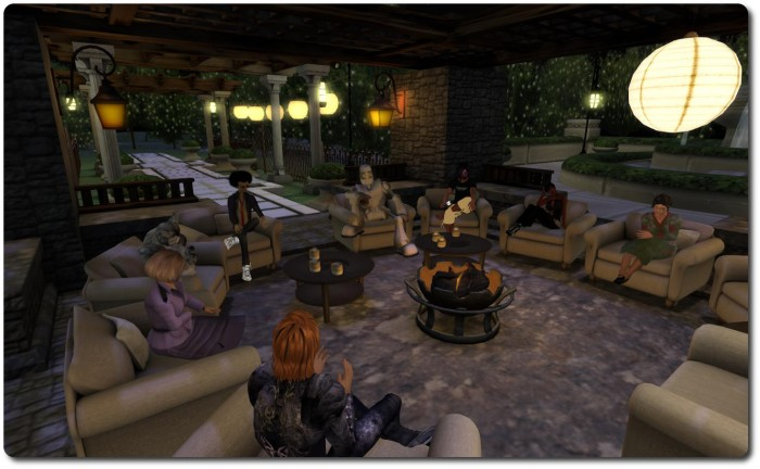 Ebbe Linden (the robot, rear right) and Pete Linden (rear left) meet with a small group of SL users