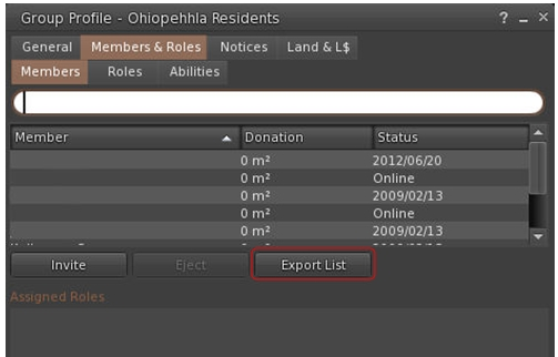 Group lists can be exported to .csv file format