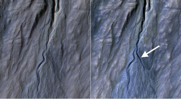 Side-by-side: an image of Terra Sirenum crater walls taken in November 2010 compared with an image of the same region taken in May 2013, complete with freshly-carved gully and outflow fan (light areas)