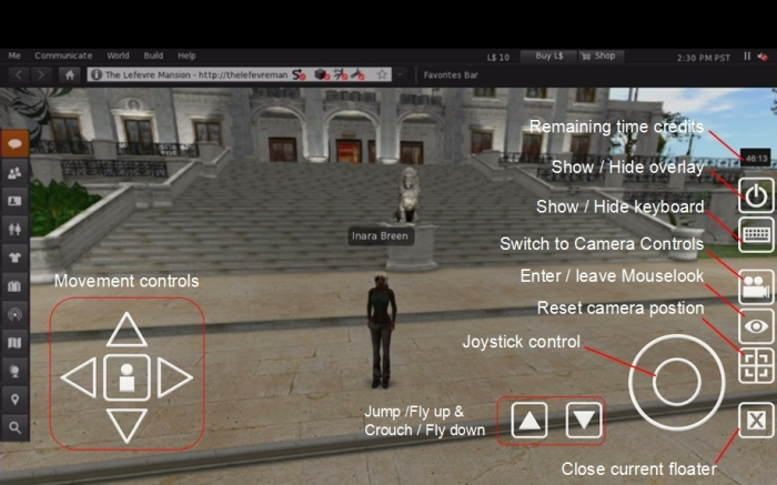The viewer presented through SL Go with the tablet overlay controls (click to enlarge)