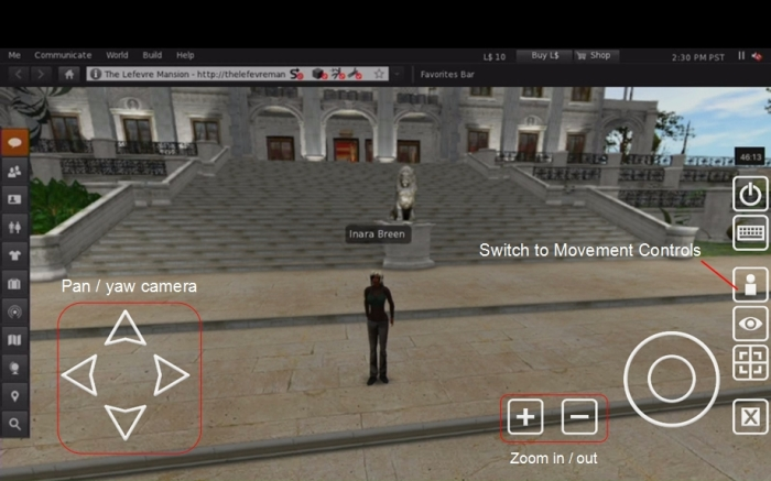 The overlay camera controls for SL Go (click to enlarge)