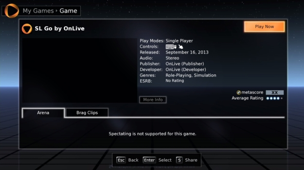 SL Go on a Pc or Mac can be launched from the OnLive client, via My Games > Hourly Play or the Quick Launch list