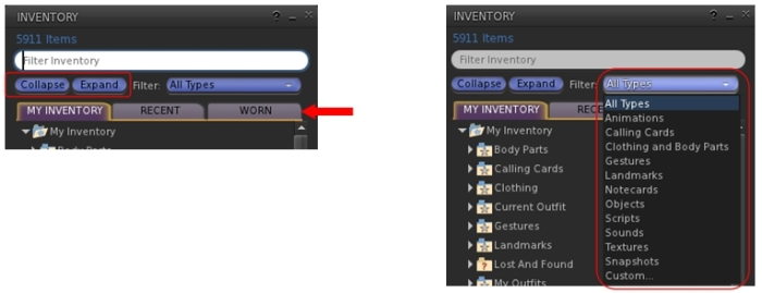The new (to UKanDo) inventory floater options: the Collapse and Expabnd buttons and the Worn items tab (l): the inventory search filters drop-down (r)