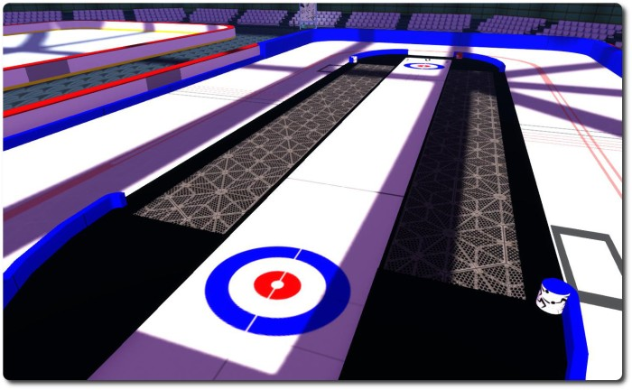 The skyborne curling sheet with a surrounding speed skating practice rink