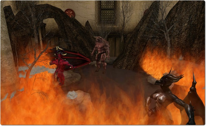 Satan and followers, post fall, amidst the fires of hell