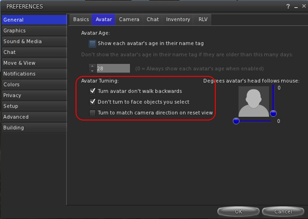 Avatar turning options in Preferences > Move and View, UKanDo 3.7.6