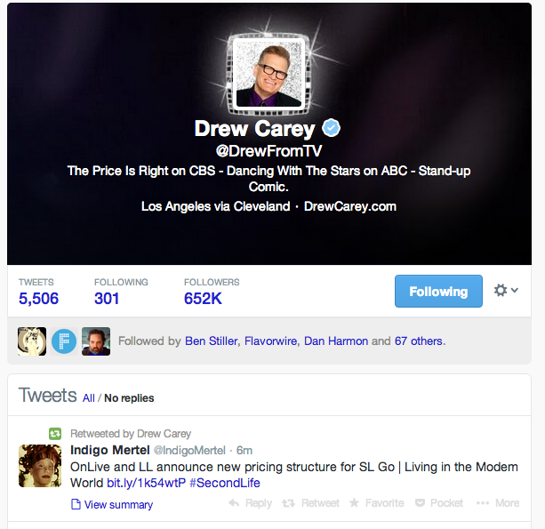 Almost famous: Drew Carey re-tweets from Indigo (who is famous!) mentioning my blog ...