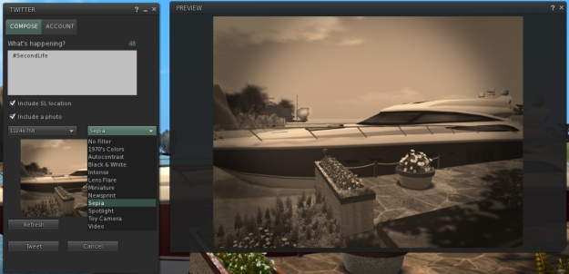 A preview example of a snapshot using one of the new SL Share 2 built-in filters