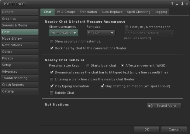 Preferences > Chat has been revised with expanded options for managing all aspects of chat and IMs