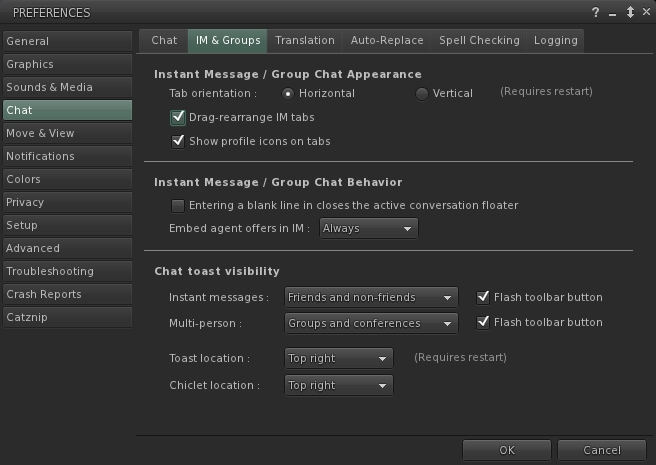 The IM & Groups sub-tab helps with configuring chat / IM behaviour, appearance, etc.