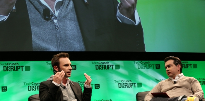 Brendan Iribe, Oculus VR CEO, talks to Matthew Panzarino at Techcrunch Disrupt NY (image via Techcrunch)
