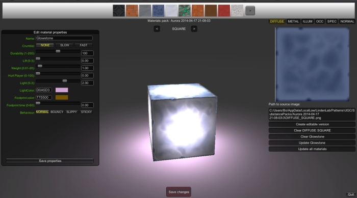 The Materials Editor has been somewhat revised with this release