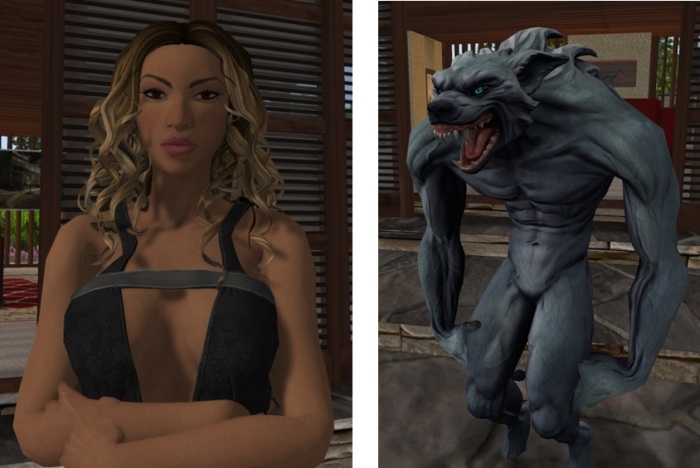 "Two of the new mesh avatars; ""Alicia"" and the werewolf (which is also a pretty good approximation for how I feel before the first mug of coffee for the day...)"