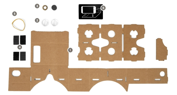 Build your own VR heaset from cardboard, magnifying lens and a few other bits, and use it with your Android smartphone