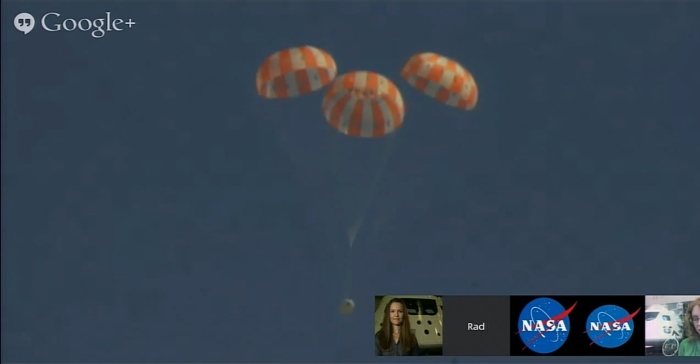 The Orions parachute test just after all three parachute have deployed (via live NASA broadcast)
