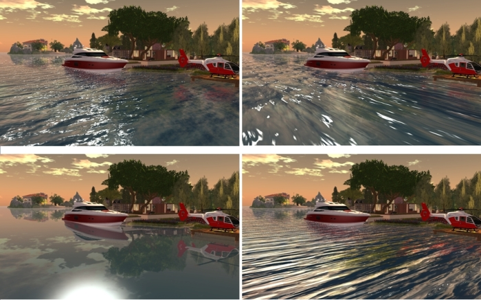 "Four presets compared under the same sky settings, clockwork from top left: Linden water default; Trompe Loeil ""cresting""; Trompe Loeil ""Long Ripple""; Trompe Loeil ""Glass"" (click for full size image)"