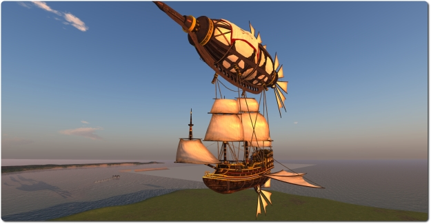 The Premium Gift pirate airship includes a premium prim count / land impact