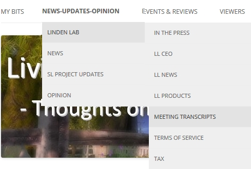 The new transcripts option (News-Updates-Opinion > Linden Lab > Meeting Transcripts)