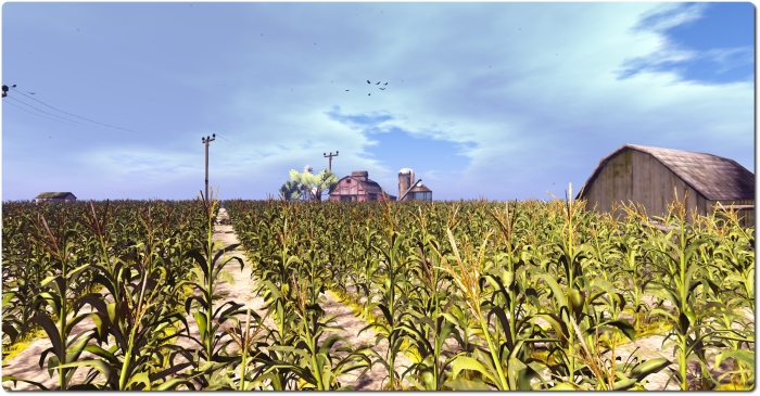 The cornfield (game play area iuses a much darker and more atmospheric windlight)