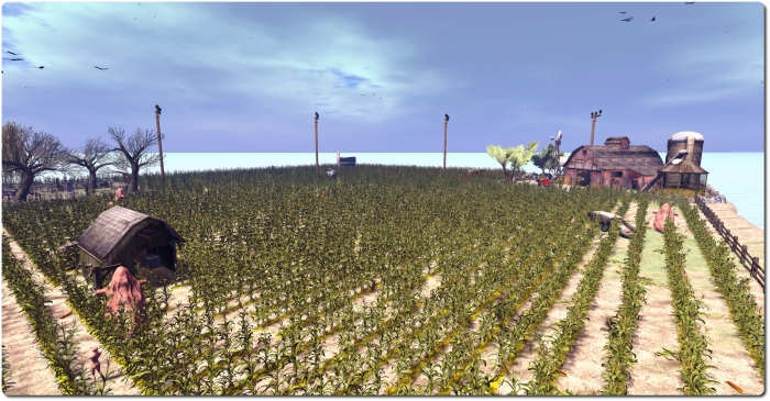 The Cornfield  game area (the game itself uses a darker windlight to enhance gameplay; the lighting used in this short is simply to show the location