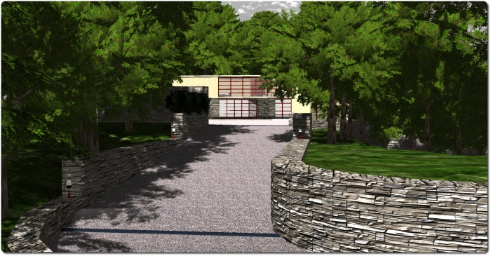 A part of the revised drive with retaining walls and one of the smaller outdoor venue spots (right). Fallingwater, Seanchai Library, Kitely