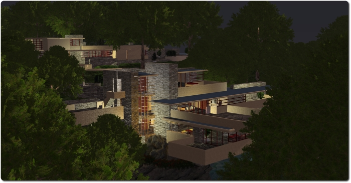 Fallingwater at night, Seanchai Library, Kitely