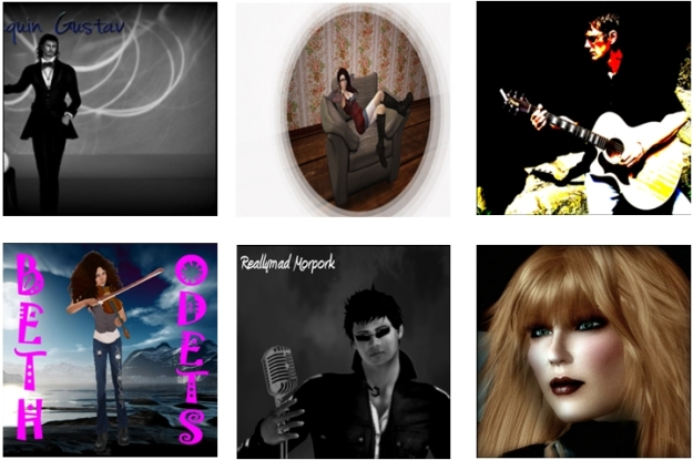 Some of the artists participating in Jamm for Genes in SL (from top left): Joaquin Gustav, Angelica Svenska, Beth Odetts, Readymad Morpork and