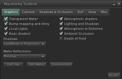 The updated Dolphin Machinima Toolbox floater is included in the beta release