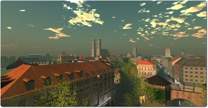 A view across the munich skyline in Second Life