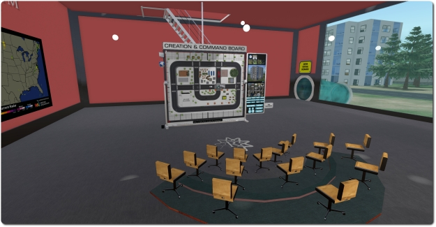 The RezMela theory area, with the Command and Control board