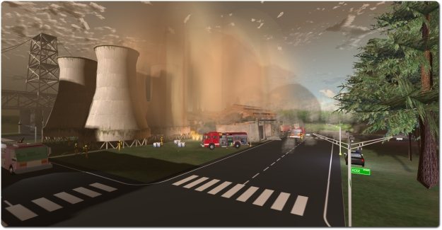 RezMela offers an interactive training and simulation environment in Kitely. Here I'm dealing with an air crash situation involving a power plant