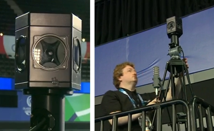 The 360-degree cameras (l) were installed at the same eye light as people sitting in the arena seats